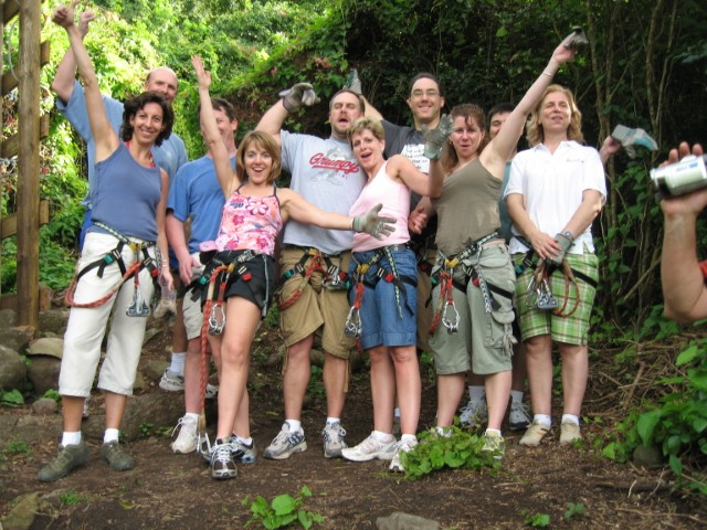 Employees on a zip line adventure