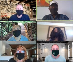 screen capture of executive level team in masks