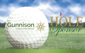 Gunnison hole sponsor logo with Gunnison logo