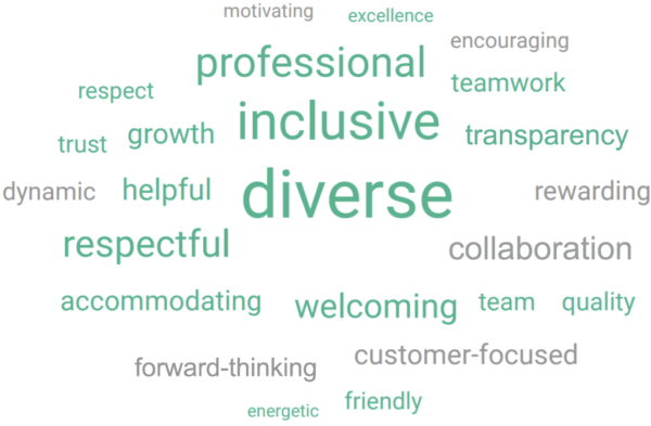 Word Cloud listing aspects of Gunnison's work culture as described by employees: family-oriented; friendly; welcoming; teamwork; dedicated; respect; fast-paced; customer-focused; friendliness; fair; diverse; inclusive; challenging; quality; diversity; innovative; cooperative; hard-work.